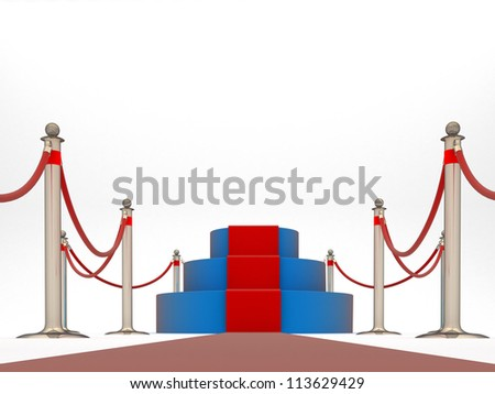 Pedestal with fence of rope and red carpet. low view