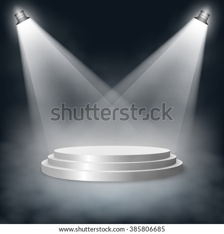 Pedestal with steps lit two lights in the fog. Graphic illustration