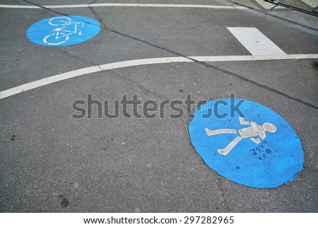 pedestrian and bicycle lane road sign - stock photo