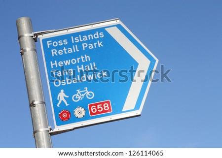 Pedestrian and cycle directional sign in York, England. - stock photo