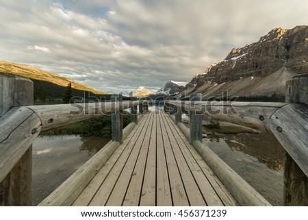 Pedestrian bridge at Bow Lake, Banff National Park, Alberta, Canada - stock photo