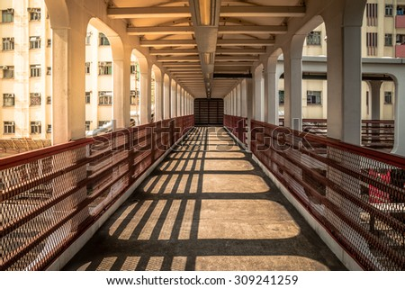 pedestrian bridge  in Hong Kong - stock photo