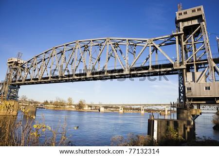 Pedestrian Bridge in Little Rock, Arkansas, USA - stock photo