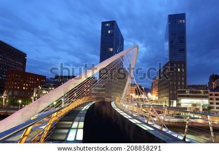 Pedestrian bridge in the city of Bilbao. Province of Biscay, Spain - stock photo