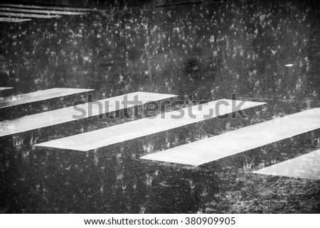 pedestrian crossing during the big rainstorm - stock photo