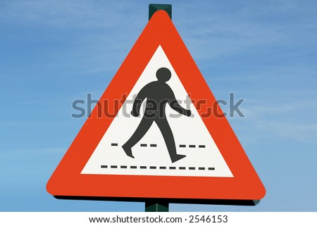 Pedestrian crossing sign. - stock photo