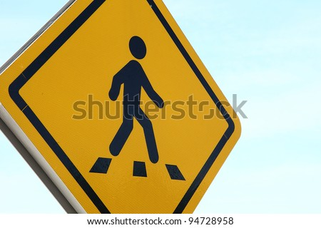 Pedestrian crossing signage - stock photo