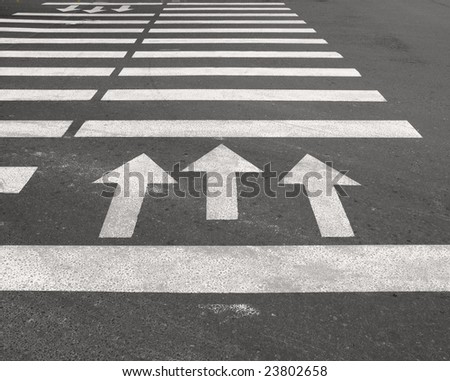 Pedestrian crossing with arrows - stock photo