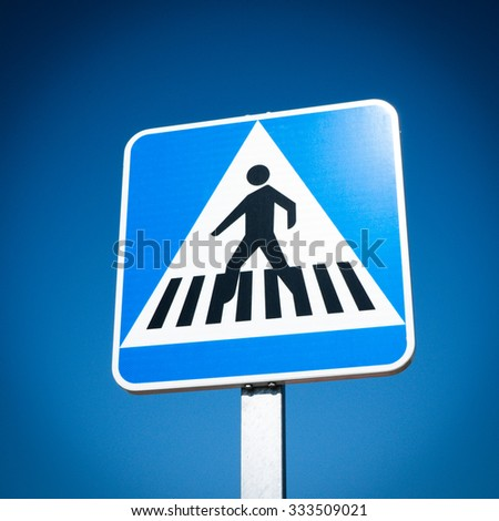 Pedestrian Crosswalk traffic road sign - stock photo