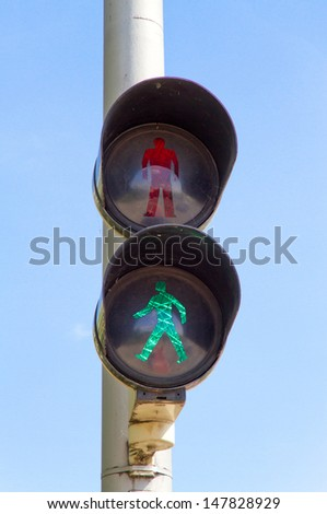 Pedestrian light, green - stock photo