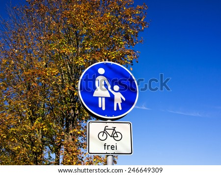 pedestrian sign and bicycles allowed germany - stock photo