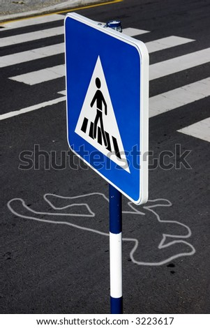 Pedestrian sign next to a running over local scene.Simulated situation.