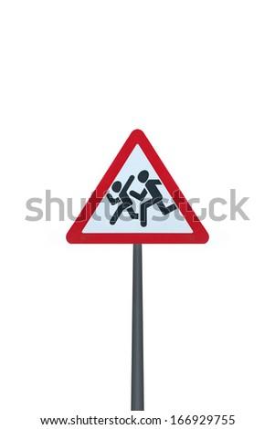 Pedestrian sign on white background - stock photo