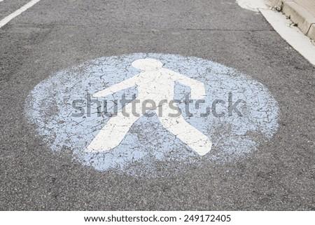 Pedestrian signal at urban road, symbol - stock photo
