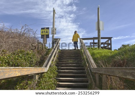 Pedestrian stairway to the beach Lincoln City Oregon. - stock photo