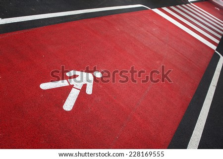 Pedestrian street red crossing sign background. - stock photo