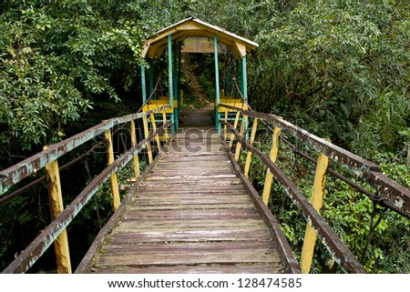 Pedestrian suspension bridge over river in rainforest.
