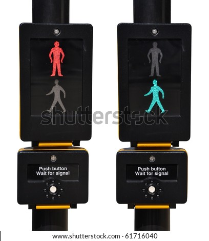 pedestrian traffic lights, red and green walk sign (isolated on white background) - stock photo