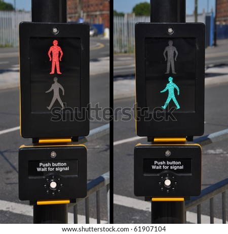 pedestrian traffic lights, red and green walk sign (road background) - stock photo