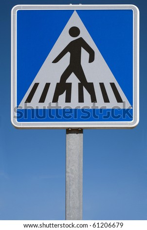 Pedestrian transit traffic sign over the sky - stock photo