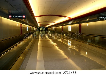 Pedestrian Transportation area of a large airport - stock photo