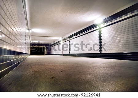 Pedestrian  tunnel receding to vanishing point