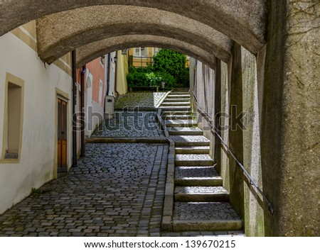 Pedestrian Underground With Stairs And Round Arches Stock Photo
