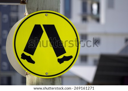 Pedestrian Walking Road Sign - stock photo