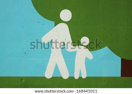pedestrian walking route sign in Japan - stock photo
