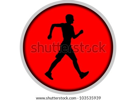 Pedestrianism. Silhouette of sportsman. - stock photo