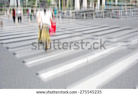 Pedestrians at the zebra crossing  - stock photo