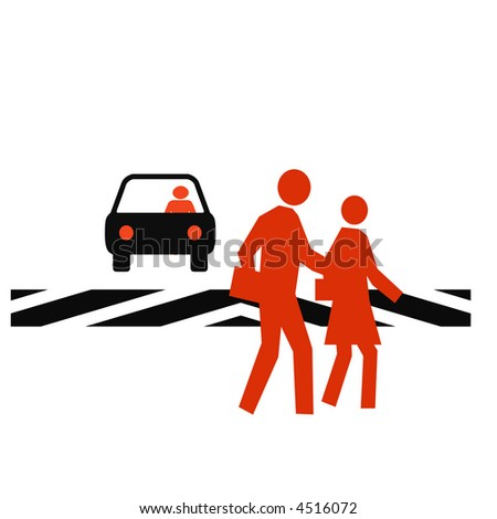 pedestrians in a crosswalk with traffic white background - stock photo