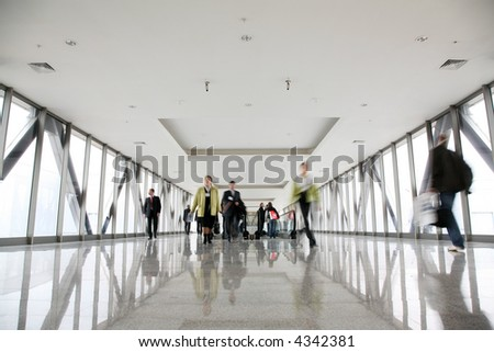 Pedestrians in transition - stock photo