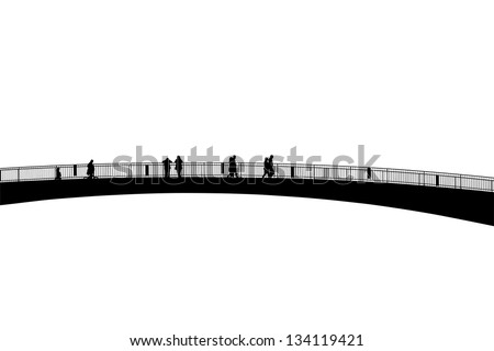 Pedestrians on Overpass - Footbridge - Silhouettes - Outlines - stock photo