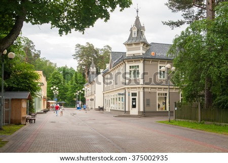 Pedestrians walk around Jomas Street on June 06, 2014 in Jurmala, Latvia. The Jomas Street is the central and oldest street of Jurmala with restaurants, hotels and cafes.