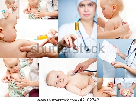 Pediatrician examining little baby girl with stethoscope and giving an injection in arm - stock photo