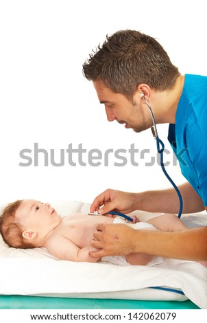 Pediatrician man examine baby four months age with a stethoscope isolated on white background