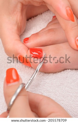 pedicure process macro closeup - stock photo