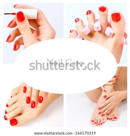 pedicure process - red manicure and pedicure - stock photo