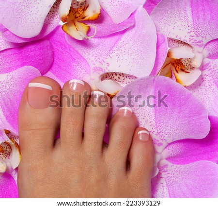 Pedicure with pink orchid flowers. Beautiful female foot with french manicure. Foot care. Spa