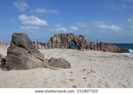 Pedra Furada in Jericoacoara Brazil - stock photo