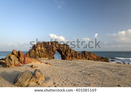 Pedra Furada, Jericoacoara, Brazil  - stock photo