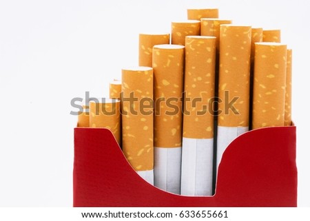 peel it off Cigarette pack smoking a cigarette in white background.