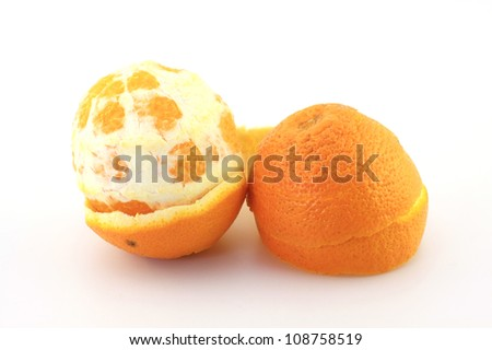 Peel navel orange - stock photo