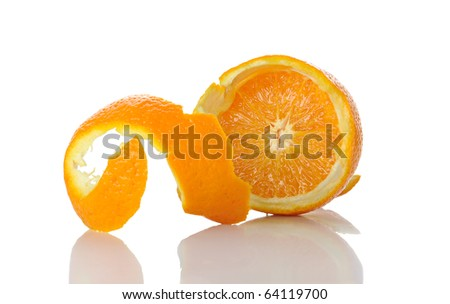 Peel of an orange isolated on white background - stock photo