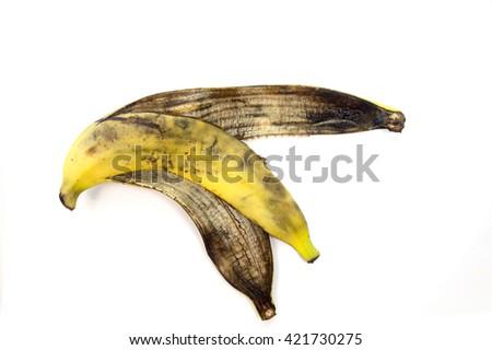 Peel of banana, isolate on white background. - stock photo