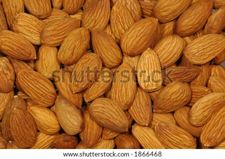 Peeled Almond. Closeup. - stock photo