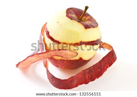 Peeled Apple Isolated on White - stock photo