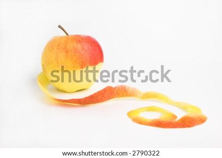 peeled apple over white background - stock photo