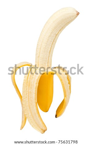 peeled banana isolated on white background